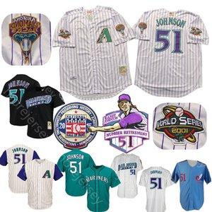 Randy Johnson Jersey 2001 parche WS 2015 Béisbol Salón de la fama blanca a rayas Negro Purple Home Alway Hombres tamaño M-3XL