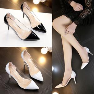 Pop2019 Scarpa Single donna Sharp Set piedi bassi con cristallo scarpe col tacco alto Donna