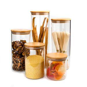 Transparentes Garrafas de vidro Food Storage vasilhas Rolhas Tampa frascos para garrafas de areia Líquido Food Eco-Friendly de vidro com bambu Lid