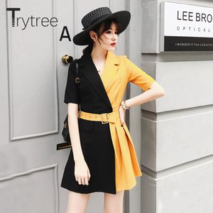Trytree Summer Autumn Casual Dress Women Notched Collar Yellow Patchwork Black Belt Office Lady Dresses Polyester A-line Dress