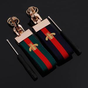 Nakış küçük arı Moda Araç Anahtarlık Tasarımı Anahtar Halkalar Yüksek dereceli Aksesuarlar ile Vintage Stil Kayış Anahtarlık