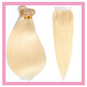 Блондинка малазийского человеческих волос 613 Цвет шелковистый прямая 3Bundles С 4X4 Lace Closure с ребенком волос утки С Четыре на четыре Closure