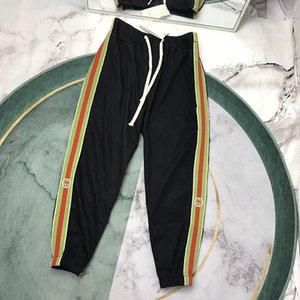 20SS Mens Pantaloni Da Jogging Italia lucido lettera lato della stampa tessitura risvolto Uomo Donna di alta qualità colore spruzzato tinto Zipper polsini