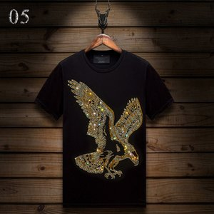 Summer Casual Mens Designer T Shirts Short-sleeved Hot Rhinestone Slim Crew Neck Tops Tee Mercerized Cotton 42XI