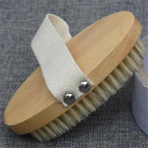 Nueva oval masaje del cuerpo del cepillo de baño de cerdas de jabalí natural cepillo del cuerpo Volver ducha exfoliante de madera Cepillos de baño cepillo SPA