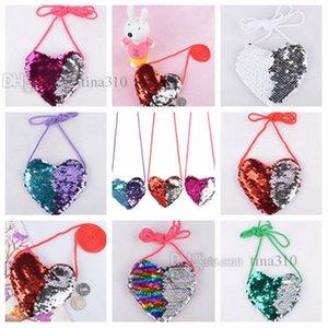 Hot 6style Heart - shaped sequin bag fashionable single-shoulder bag cartoon children zero wallet Party Favor birthday present T2D5015