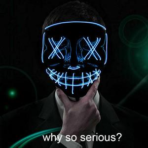 Halloween LED lueur masque de commande vocale 3 Modes EL Wire Light Up The Costume Party Purger Film Grimace Jester Masque Jolly