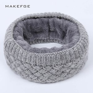 Winter Warm men's and women's scarf pure color wool knitted plush thickened scarf