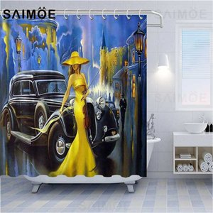 ATOMAX Retro Poster Shower Curtains Yellow Dress Women And Luxury Classic Car Tourist Attractions Bathroom Curtain Waterproof