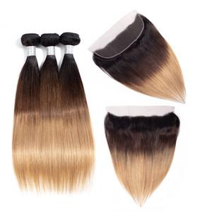 13x4 chiusura frontale in pizzo con fasci ombre brasiliane dritto 3 fasci con pizzo frontale bionda tessuto dei capelli umani colore 1b 4 27 30