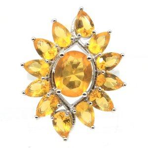 Oldukça Altın sitrin Tanzanit Beyaz cz Hediye İçin Kardeş Gümüş Yüzük düzenlendi 30x20mm SheCrown
