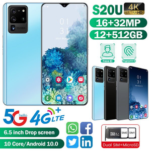 New Smartphone S20U with 12+512GB Face Recognition 4G  5G Smartphone Dual Sim Cards Bluetooth Wifi Camera Mobile Phone Android 10.0Ten Core