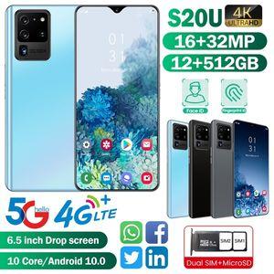 جديد الهاتف الذكي S20U مع 12 + 512 جيجابايت التعرف على الوجه 4G / 5G الذكي بطاقات SIM المزدوج بلوتوث wifi كاميرا الهاتف المحمول الروبوت 10.0ten الأساسية