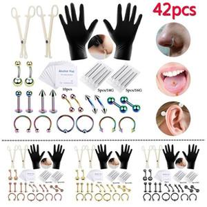 42PCS Body Piercing Kit Forceps Aiguille complète Tongue Nez Sourcils Lèvre Outils Piercing Kit pour le corps Kits Piercing Arts Bijoux