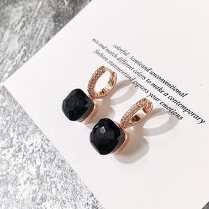 luxury designer jewelry women hoop earrings hot luxury earrings candy color square stone crystal earring diamond earrings fashion earring