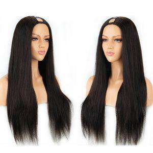 Echthaar U-Teil Perücken Seidig Glatt 100% Peruanische Remy Haar Perücke Mittelteil Mit Natürlicher Farbe 130% 150% 180% Dichte