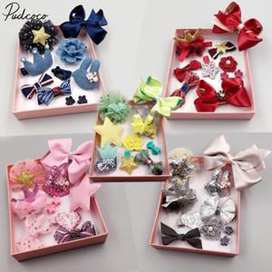 Pudcoco Lovely Set Bébés filles enfants Bow Noeud Clips cheveux fleur boîte-cadeau Barrettes Barrette