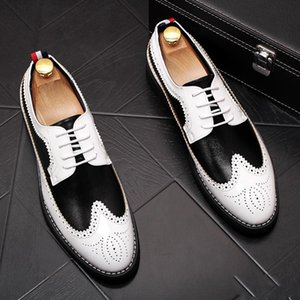 New Vintage Men luxury Designer gentleman Brogue black with white colors oxfords Dress Male Wedding prom Formal Shoes lll