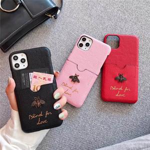 Belle femme luxe abeille Designer Phone Cases Mode couverture pour IPhoneX 7Plus 8P 7 8 11 11promax 11Pro Lettre Marque Hot Vente avec carte