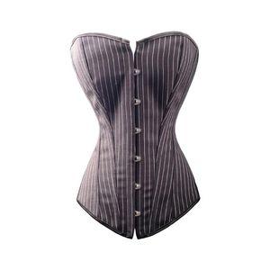 Traje de Halloween mujeres negro gótico atractivo del corsé del bustier de rayas atan para arriba la ropa interior de Overbust Top Body Shaper