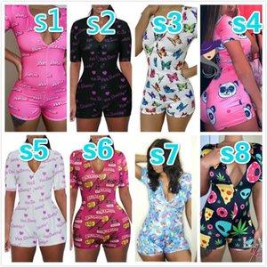 2020 Women Summer Pajama Sexy Deep V-neck Digital Printed Nightwear Short-sleeved Button Jumpsuit Shorts Tight Bodysuit C026