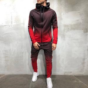sport degli uomini di modo vestito di autunno e l'inverno nuovo 3d maglione digitale di fitness sport di stampa in esecuzione incappucciati del casuale sudore-assorbente