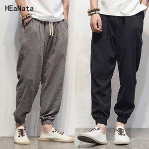 Plus La Taille Coton Lin Harem Pants Hommes Jogger Pants Nouveau Mâle Casual Piste Pantalon Pantalon Hip Hop Loose Chinois Traditionnel Y19073001