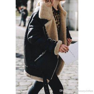 Designer de Moda Jacket Womens Suede Leather Jacket Cordeiro Designer Casacos de inverno Turn Down gola do casaco casaco quente Grosso