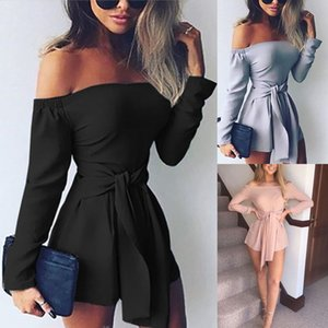 Women Ladies Clubwear Summer Playsuit Bodycon Party Off Shoulder Long Sleeve Jumpsuit Romper Trousers