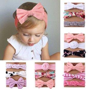 Fascia della ragazza 3Pcs / Set bambino elastico Stampa archi Neonato Turbante morbida Toddler bambini Hairband capelli del bambino accessori Haarband