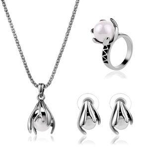 Партия комплект ювелирных изделий серьги ожерелья Кольца Vintage Luxury Женщины Качество жемчуга Antique Silver Plated Цветы Свадебные украшения 3-Piece Set
