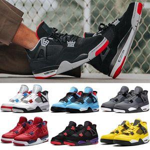 2019 IV New Bred 4 JUMPMAN 4s Cool Grey Travis Womens Basketball Shoes Mens FIBA Raptors NEON Mens Sports Sneakers Size US 5-13