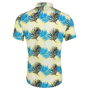 2019 männer Neue Kurze Ärmel Strand Wind Druck Mode Baumwolle Kurzarm Top shirt männer camisa masculina camicia uomo