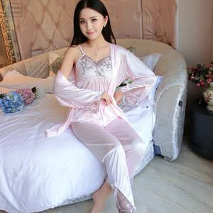 Summer Satin Sexy Sleepwear Pajama Set Women Soft Silk 3 Set Lace Halter Tops Ladies Spaghetti Strap 3 Piece Nightwear