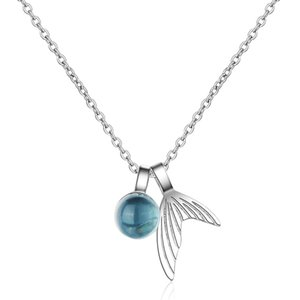 Clear Water Droplets Foam People Fish Tail Necklace Short Paragraph Clavicle Chain Creative Blue Crystal Jewelry