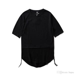 Erkek Tişörtü Mürettebat Boyun Kasetli Kısa Tees Casual Gevşek Mens Tees Yaz Saf Renk