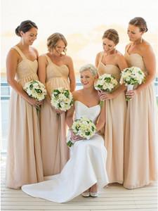 Şampanya Şifon Ucuz Nedime Elbisesi 2019 Bir Omuz Dantelli Hamile Resmi Parti Kıyafeti Yaz Düğün Konuk Elbiseler