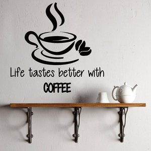 Life Tastes Better With Coffee Wall Stickers Vinyl Decal Cup Modern Hot Sale Decalques Art Decor Kitchen