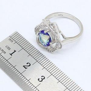 Blue Rainbow Zircon Argent 925 ensembles de bijoux pour les femmes en forme de coeur Boucles d'oreilles Bagues collier pendentif boîte-cadeau