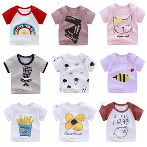 Kids Clothes Girls Summer T-shirts Infant Cotton Cartoon Tops Toddler Elastic Short Sleeve Tees Newborn Tanks Boutique Clothing CZYQ5470