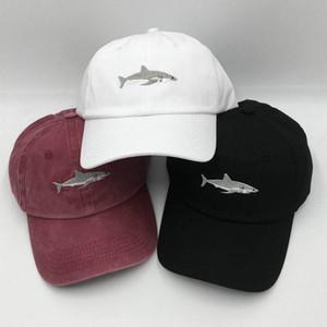 Nueva moda Casual Washed Shark Gorra de béisbol Pareja Sombra Color sólido Viaje en la calle Sombrero superior suave Sombrero de viaje Sombrero al aire libre