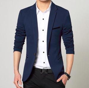 Mens Blazer Frühling Slim Fit Langarm Single Button Solid Color Mantel Anzug Männer Blazer-Jacken-Business Casual Masculino