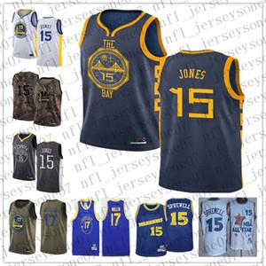 Hommes personnalisés golden stateguerriers15 Damian Jones 17 Chris Mullin noir bleu Throwback Basketball ÉditionnbaJersey