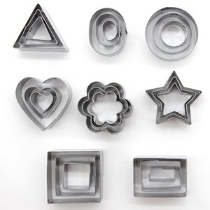 Baking Tools 24pcs Set Geometric Pattern Stainless Steel Cookie Mould Star Heart Flower Cutter DIY Cookie Mould Graphic DH0532 T03