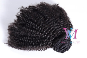 4A Clip ins Peruvian Afro Kinky Curly Virgin Natural Black Human Hair Weave Clip In Hair Extension 100g 120g 140g 160g