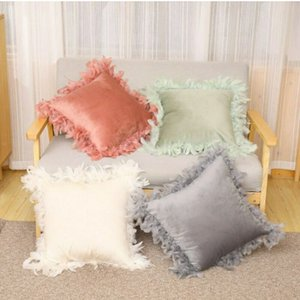 45x45cm Feather Velvet Pillow Ins Style Velvet Pillow Case Comfortable Durable Sofa Bed Car Pillowcase Fluffy Cushion Cover Hot