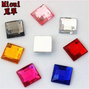 Micui 100pcs 14mm quadratische Form Mix Farbe Acrylrhinestones Flatback Strass Kristalle Steine für Kleidung Crafts ZZ729 dekorieren