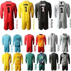 Çocuklar 2020 2021 Uzun kollu Kaleci futbol Jersey PSG K. ALBERTO 1. gömlek futbol futbol Çocuklar kiti setleri de üniform Çocuk futbol forması