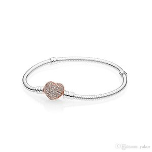 NUOVO 18K Rose Gold Full CZ Diamond Heart Charms Bracciali Logo Scatola originale per Pandora Bracciale a catena in argento 925 con set di serpenti per donna