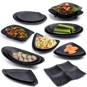 MOQ 10pcs melamina vajilla Plato rectangular Placa platos de cocina japonesa del restaurante melamina A5 estilo japonés de cocina Sushi Plate